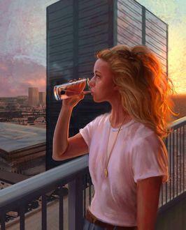 Фото Девушка с длинными волосами со стаканом в руке стоит на фоне города, by Yasar VURDEM