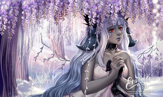 Фото Плачущая белокурая девушка с алыми глазами под цветущим деревом, by enmoire
