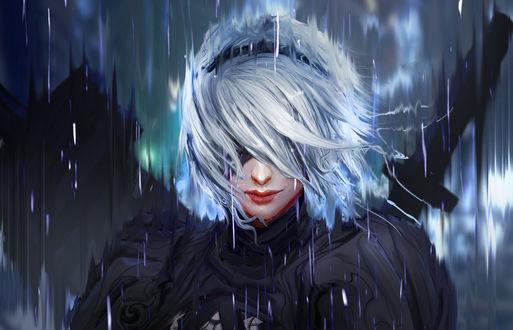 Фото YoRHa No. 2 Type B стоит под дождем, персонаж из игры NieR: Automata, by trungtinart
