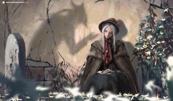 Фото Рlain doll / Кукла из игры Bloodborne: Порождение крови сидит у стены, by wlop