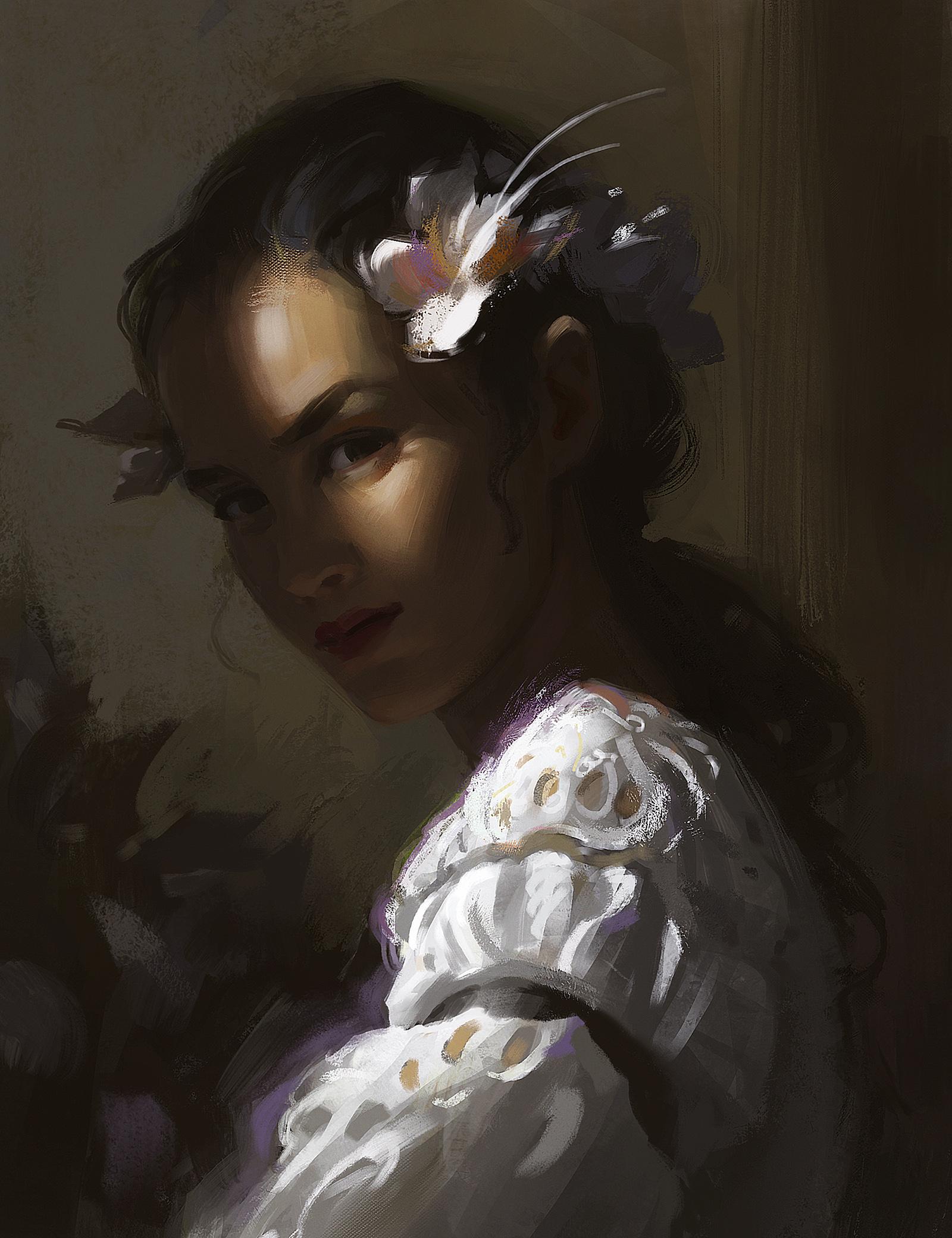 Фото Девушка с цветами на волосах и падающем на нее светом, by Wildweasel339