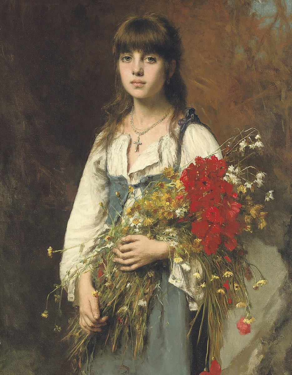 Фото Девушка с букетом цветов