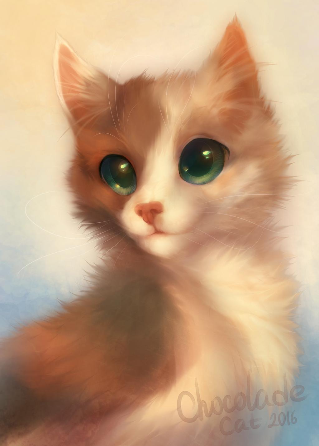 картинки рыжего кота с зелеными глазами мультяшного того, внешний
