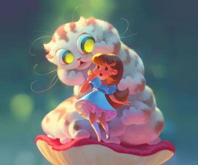 Фото Девочка стоит на грибе со своей фантастической кошкой, by Kate Stepanova