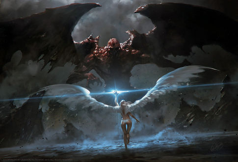 Фото Final Battle / Финальная битва девушки-ангела с демоном, by Greg Rutkowski