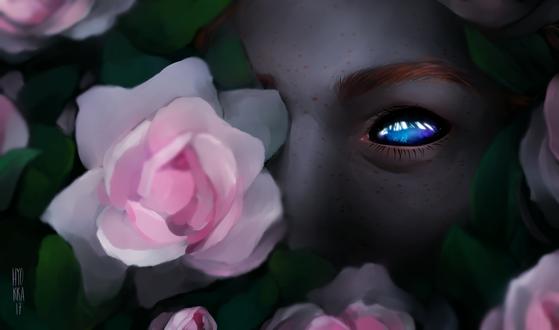 Фото Девушка, в глазах которой космос, среди розовых роз, by hyokka