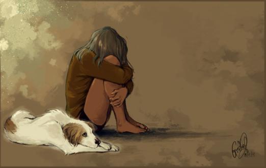 Фото Девушка сидит на полу и рядом лежит пес, by Gretlusky