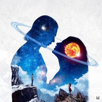 Фото Работа Sun of my Life / Солнце моей жизни, влюбленные стоят напротив друг друга с их космическим изображением, by Iskander1989