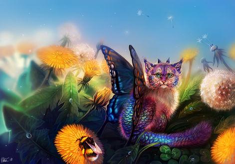 Фото Фантастическая кошка с крыльями бабочки и рожками сидит среди одуванчиков, by Maquenda