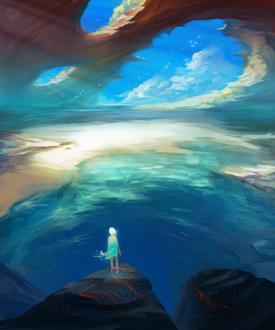 Фото Девушка стоит на скале на фоне моря и облачного неба, by ExitMothership