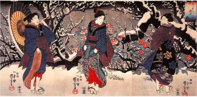Фото Три японки в кимоно на фоне зимнего пейзажа, старинная гравюра с выставки Изобразительное искусство эпохи Эдо