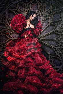 Фото Девушка в длинном темно-красном платье, by Digitalzauber