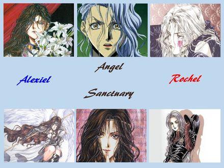 Фото Alexiel и Rochel из аниме Angel Sanctuary / Обитель Ангела, art by Kaori Yuki