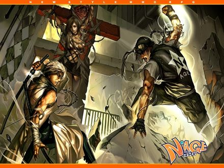 Фото Два крутых парня яростно сражаются из-за девушки привязанной к кресту, new style MMO RPG