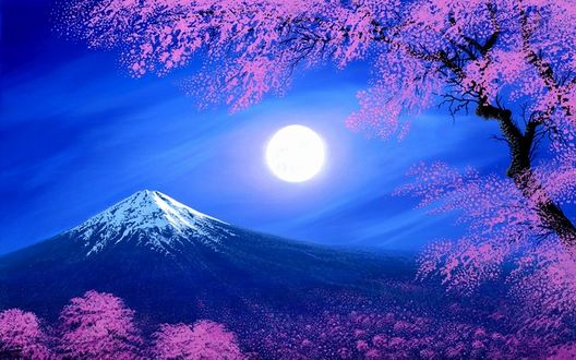 Фото Луна над Фудзиями и весенние ветки на переднем плане