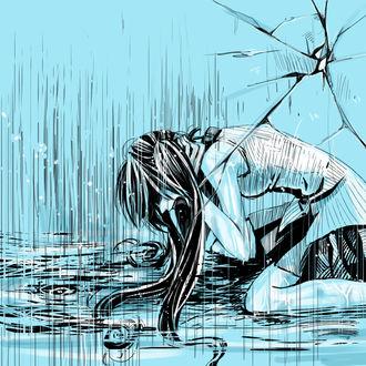 Фото Плачущая девушка под дождем