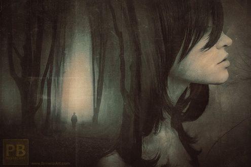Фото Портрет девушки в профиль с изображением уходящего мужчины на волосах, by Peter Brownz Braunschmid
