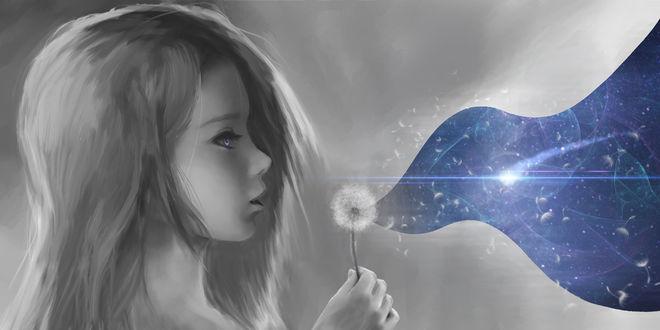 Фото Девочка в профиль дует на одуванчик открывающий другой мир, by Brandon-Ellis