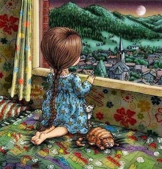 Фото Девочка смотрит в окно, а рядом лежит кошечка