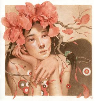 Фото Девушка с цветами на голове и лягушка, сидящая перед ней, by mynameistran