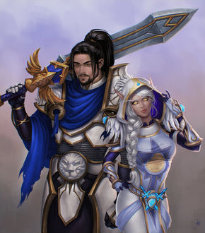 Фото Темноволосый мужчина жрец с большим мечем и светловолосая кровавая эльфийка жрица / арт на игру World of Warcraft, by JuneJenssen
