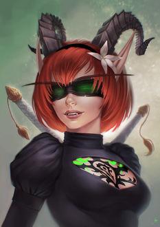 Фото Рыжеволосая кровавая эльфийка охотница на демонов / арт на игру World of Warcraft, by JuneJenssen