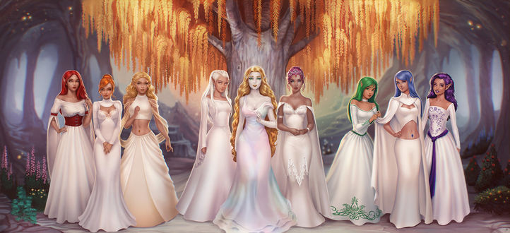 Фото Девушки эльфы в белых платьях стоят в лесу под деревом, by JuneJenssen