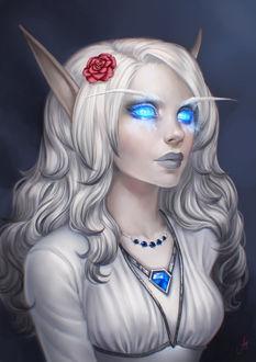 Фото Светловолосая кровавая эльфийка / арт на игру World of Warcraft, by JuneJenssen