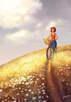 Фото Девушка едет на велосипеде по цветущему полю, art by Yaoyaomva