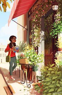 Фото Девушка с книгами в руках и сумкой через одно плечо подходит в цветочному магазину, art by Yaoyaomva
