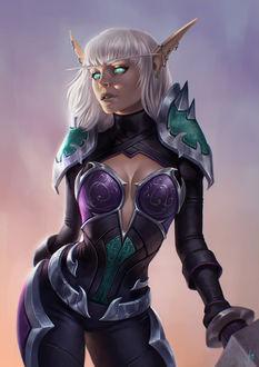 Фото Светловолосая эльфийка в доспехах / арт на игру World of Warcraft, by JuneJenssen