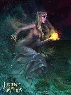 Фото Девушка в короне с огненным шаром стоит в воде под дождем, by Tsvetka