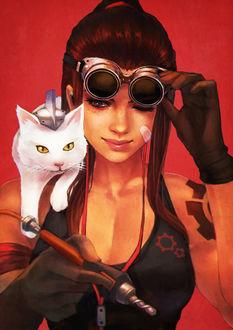 Фото Девушка с защитными очками и белой кошкой на плече, by MonoriRogue