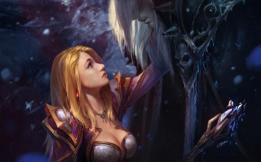 Фото Jaina Proudmoore / Джайна Праудмур и Lich King / Король Лич, арт к игре World of Warcraft / Мир военного ремесла, by Bo Chen
