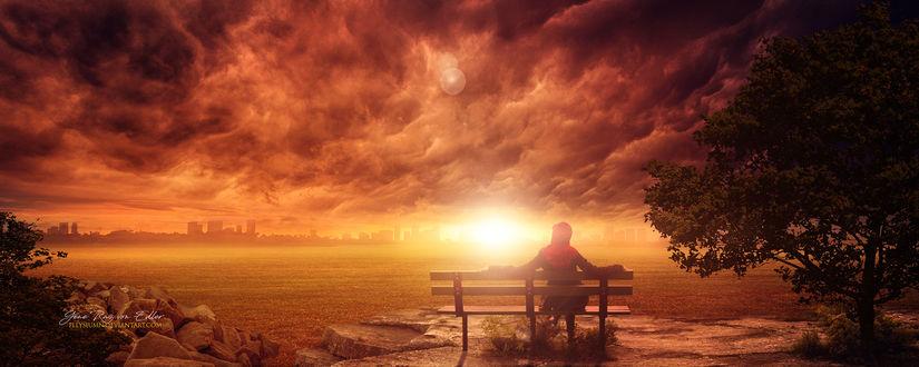Фото Девушка сидит на лавочке на фоне облачного неба с солнцем, by Ellysiumn Arts