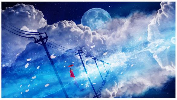 Фото Девушка в красном с красным зонтом стоит на воде на фоне огромных облаков, by Ellysiumn