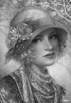 Фото Ретро девушка в шляпке с цветами