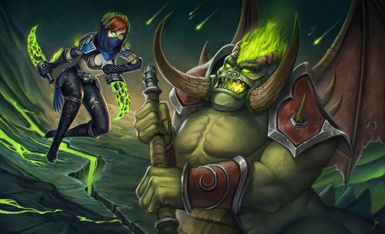 Фото Кровавая эльфийка разбойница сражается с демоном / арт на игру World of Warcraft, by JuneJenssen