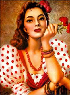 Фото Красивая девушка украшенная цветами с бусами на шее держит цветы