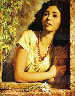 Фото Красивая милая девушка с бусами на шее смотрит из окна на фоне ромашка
