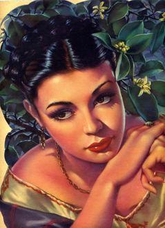 Фото Красивая грустная девушка на фоне цветов с цепочкой на шее