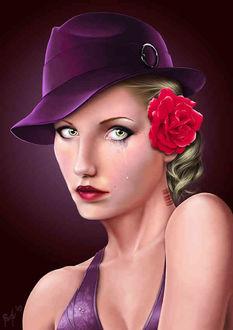 Фото Грустная гламурная девушка в шляпе с цветком в волосах и со слезой на щеке