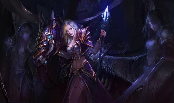 Фото Jaina Proudmoore / Джайна Праудмур и конь по кличке Invincible / Непобедимый, арт к игре World of Warcraft / Мир военного ремесла, by Bo Chen