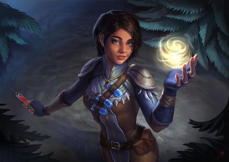 Фото Девушка с яркой светящейся сферой в руке, by JuneJenssen