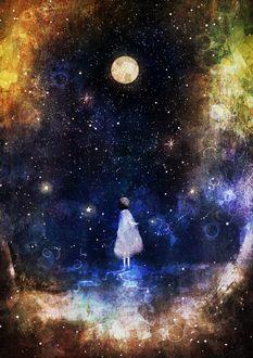 Фото Девочка в белом платье на фоне космоса, by KATSUO