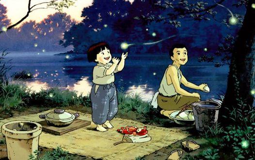 Фото Главные герои Сэйта и Сэцуко из аниме Могила светлячков готовят себе еду на берегу у реки