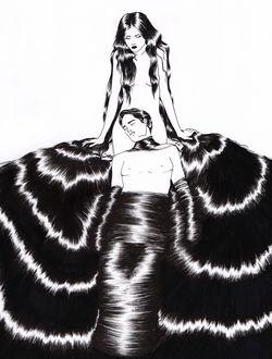 Фото Парень лежит у ног девушки, окутанный ее волосами, by Sivan Karim