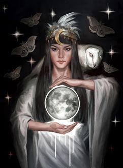 Фото Девушка с совой за головой и шаром между руками