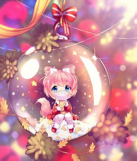 Фото Розоволосая с ушками чибик внутри игрушечной новогодней игрушке, by Hyanna-Natsu