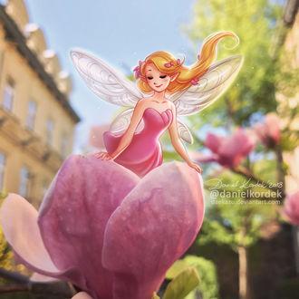 Фото Фея в цветке магнолии, by daekazu